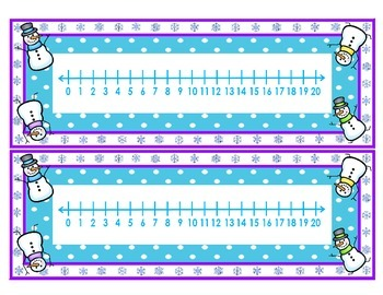 Winter Number Lines   Numbers 0 - 10 & 0 - 20