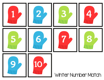 Winter Number Matching Folder Games for Early Childhood Special Education