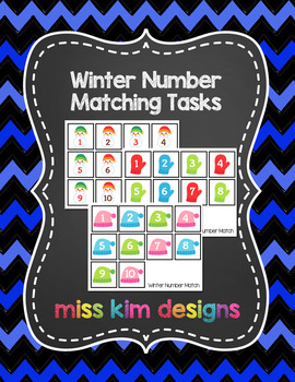 Winter Number Matching Folder Games for Early Childhood Sp