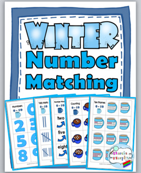 Winter Math Number Matching  - Numeral, Ten Frame, Tally Mark, Number Word
