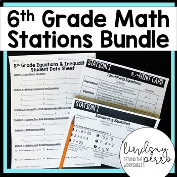 Middle School Math Stations Bundle for 6th Grade