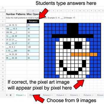 Winter - Number Patterns: Misc Operations - Google Sheets Pixel Art
