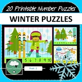 Winter Number Puzzles - 20 Preschool Primary Winter Puzzles 1-10 + Times Tables