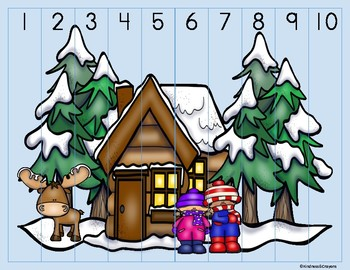 Winter Number Sequencing Puzzle 1-10