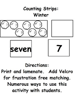 Winter Number Strips:  Numbers 1 to 10 (ESE or Gen. Ed)