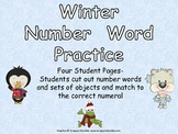 Winter Number Word Match- Kindergarten- Zero to Ten