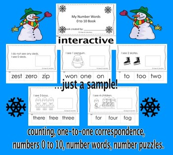 Winter – Number Words 0 to 10. Interactive Activities. CCS Aligned