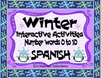 Winter – Number Words 0 to 10. Interactive Activities. SPA