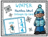 Winter Number Words Clip Cards