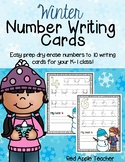 Winter Number Writing to 10--Dry Erase Handwriting Cards for your PK-1 Class