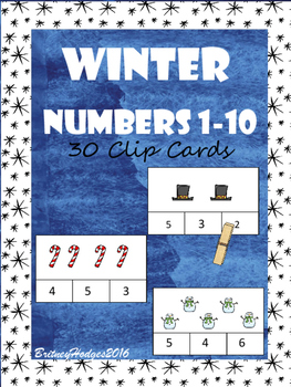 Winter Numbers 1-10 Clip Cards