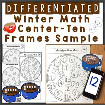 Winter Numbers & Counting w/ Ten Frames Differentiated QR Code Task Cards Free