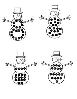 Winter Numbers Match Teens & Twenty 11-20 with Snowflakes, Snowmen & Penguins
