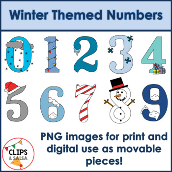 Winter Themed Number Clip Art for Digital & Paper Resources