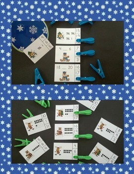 Winter Numerals and Counting Math Centers Bundle (Quantities to 20)