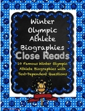Winter Olympic Athlete Biographies Close Reads with Text-D