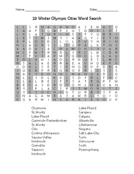 Winter Olympic Cities Word Search