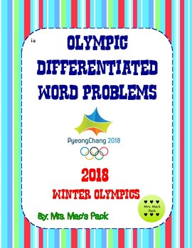 Winter Olympic Differentiated Word Problems- Two Levels!!