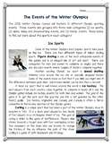 The Events of the Winter Olympic Games Reading Comprehension--Olympics 2018