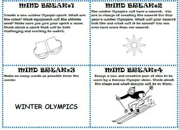 Winter Sports- 28 Reading Comprehension Task Cards- Olympic Games Scoot