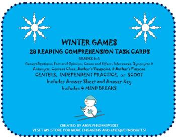 Olympic Games Winter Sports- 28 Reading Comprehension Task Cards & Scoot