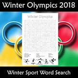 Winter Olympics 2018 South Korea PyeongChan Word Search Find