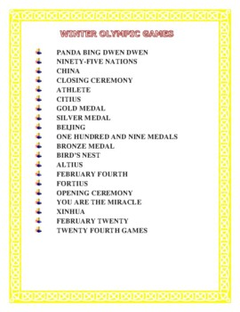 Winter Olympics 2018-Word Search, Double Puzzle with Hidden Message & Fun Facts