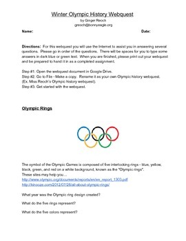 Winter Olympic History Webquest