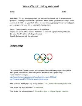 Winter Olympic History Webquest - Answer Key