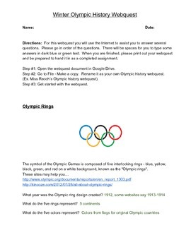 Winter Olympic History Webquest - Answer Key
