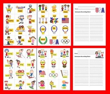 Winter Literacy Center Activities:  Olympic Antonyms Match! - 60 Pairs
