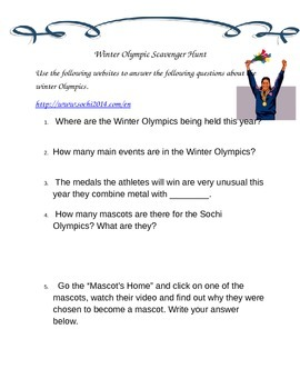 Winter Olympic Scavenger Hunt
