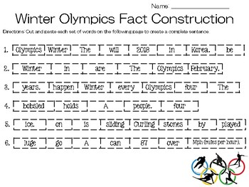 Winter Olympic Sentence Construction