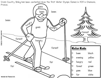 Winter Olympic Sight Word Roll and Color-First Grade