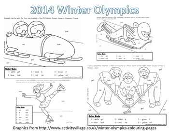 Winter Olympic Sight Word Roll and Color-Kindergarten