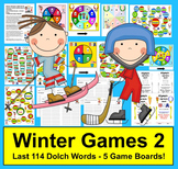 Winter Games 2018: Olympic Sight Words Game Boards - last 114 Dolch