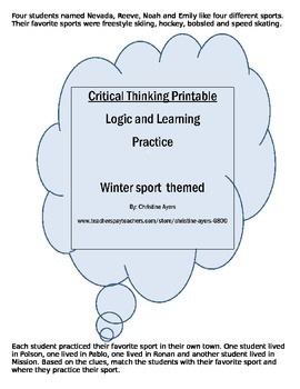 FREE**WINTER SPORTS Logic and Critical Thinking  printable