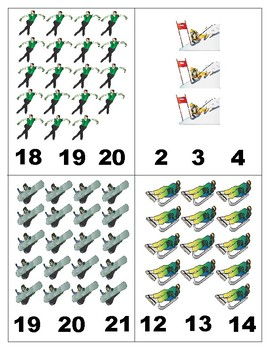 Winter Sports: Math 1-20 : Count and Clip Cards