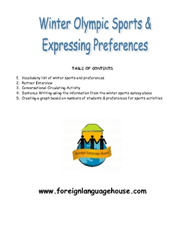 Winter Olympic Style Sports Preferences & Survey for English Learners