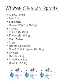 Winter Olympic Sports: Research & Expository Writing (Upper)