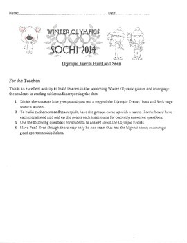 Winter Olympic Sports Schedule Hunt and Seek