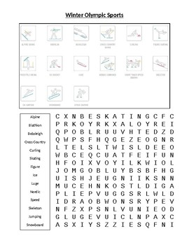 Winter Olympic Sports Word Puzzles