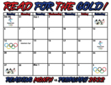Winter Olympic Themed Reading Month Calendar Editable