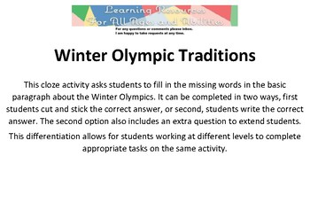 Winter Olympic Traditions