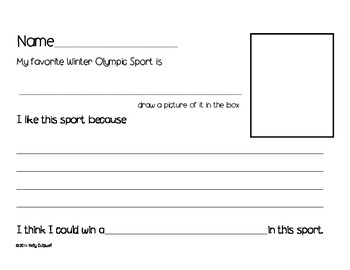 Winter Olympic Vocabulary Cards & activities