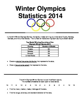 Winter Olympics 2014 Statistical Analysis