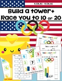 Winter Olympics 2018 Build a Tower and Race to 10 or 20 Composing Numbers K.OA.