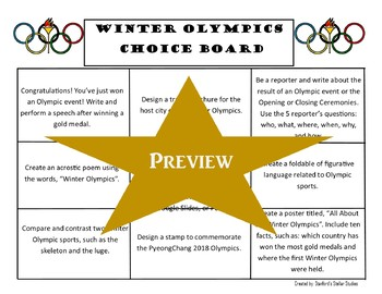 Winter Olympics 2018 Choice Board Activities Menu Project with Rubric