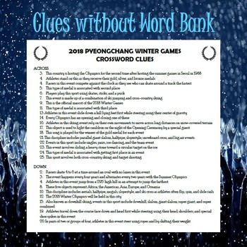 Winter Olympics 2018 Crossword Puzzle-Secondary
