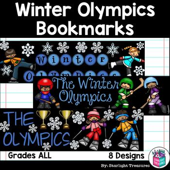 Winter Olympics 2018 Cut n' Color Bookmarks: Black and White AND Full Color